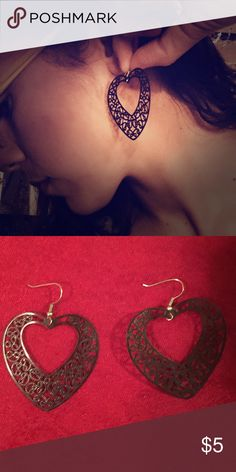 ornate Black paper lace earrings Less than .05 oz; approx. 1.75 inches in length; good as new; not made with hypoallergenic metal Jewelry Earrings