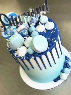 18th Birthday Cake For Girls, Pretty Birthday Cakes, 1st Birthday Cakes, Blue Drip Cake, Macaroon Cake, 18th Cake, Cool Cake Designs, Baby Shower Cakes For Boys, Birthday Cake Decorating