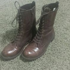 Dirty Laundry Boots Brown, size 8 Dirty Laundry boots. Kind of two-tone because the sides are fabric. Great condition. Sales only (no trades). dirty laundry   Shoes Lace Up Boots