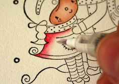 Coloring with Distress Ink / Tutorial by Anita
