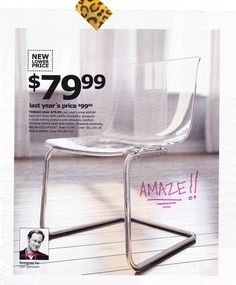 acrylic Ikea chairs. mmm. for a dining room table.