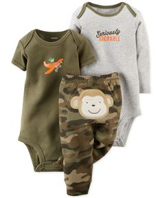 Carter\'s Baby Boys\' 3-Piece Monkey Bodysuits & Pants Set