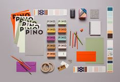 Pino, Retail Design and Branding. Bold logo types used on range of bright coloured stock. Graphic Design Projects, Graphic Design Branding, Stationery Design, Corporate Design, Corporate Identity, Retail Design, Identity Design, Graphic Design Inspiration, Visual Identity