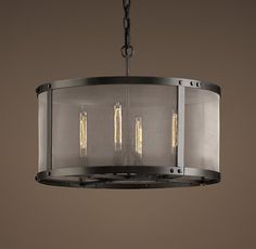"""Riveted Mesh Round Chandelier 24"""" For our current chandelier in the dinning room"""