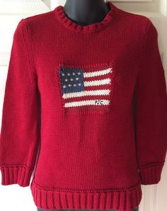 Ralph Lauren Polo Jeans Company Red American Flag Sweater Small S XS #PoloRalphLauren #Sweater