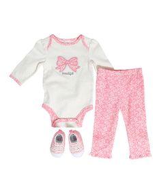 Look at this #zulilyfind! White Pin Dot 'Beautiful' Bodysuit Set by Baby Gear #zulilyfinds