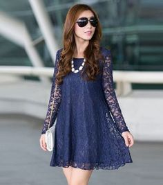 Lace Dress 2015 New winter sexy big plus size clothes for women long sleeve lady vestido de festa Casual dress Tunic