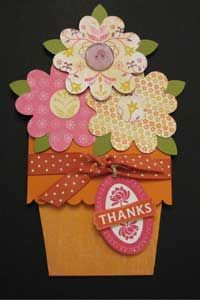 Video and photo tutorials for this nifty flower pot card where the flowers are on a panel that you can pull out to see your greeting!  Create a bouquet for a friend's birthday or as a handmade thank you card like this one.