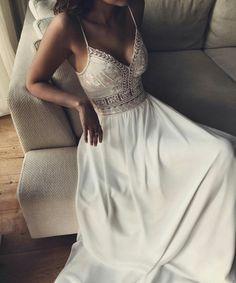 Wedding Gown Open Back Wedding Dress Deep Plunge Chiffon Open Back Wedding Dress, Boho Wedding Dress, Dream Wedding Dresses, Bridal Dresses, Wedding Gowns, Deb Dresses, Cute Dresses, Beautiful Dresses, Prom Dresses