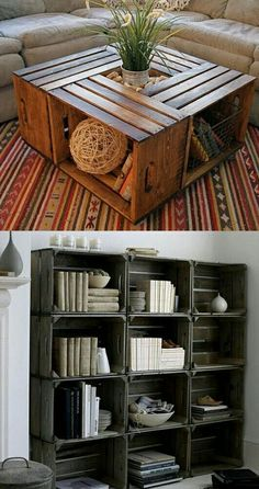 Saved by Lee Cohen 🌹 Hacer muebles de cajas de madera/ Make furniture wooden crates designDiy Furniture: Nice 46 DIY Wooden Furniture Ideas That Inspire Rug Interior Modern Style Ideas To Copy Right Now - Home Decoration ExpertsInterior energetic Pallet Furniture, Rustic Furniture, Furniture Ideas, Homemade Furniture, Furniture Removal, Recycled Furniture, Furniture Storage, Farmhouse Furniture, Diy Furniture With Crates