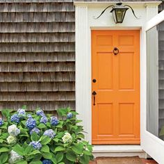 Personalize your front door - this tangerine paint really rocks next to the faded gray-brown of the wood shake siding.  If your Bellingham WA front door needs a facelift, we can paint it - http://www.northpinepainting.com