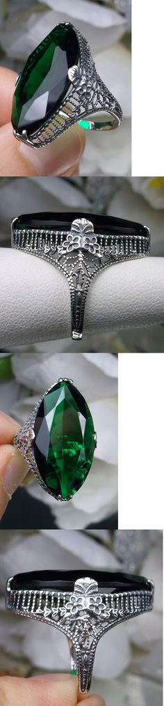 Rings 52603: 13Ct Marquise Cut *Green Emerald* Floral Filigree Sterling Silver Ring Size 6 BUY IT NOW ONLY: $37.0