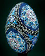 Blue Pysanka (Ukrainian Pysanky Easter egg).