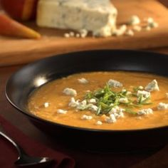 Roasted Pear-Butternut Soup with Crumbled Stilton - EatingWell.com