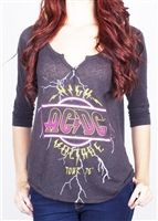 Women's AC/DC High Voltage Henley T-Shirt by Junk Food