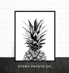 Pineapple Art Black and White Print Pineapple by StoryPrintsCo