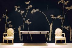 chinese flowers and black wall
