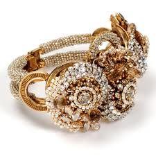Miriam Haskell Paisley hinged crystal cuff bracelet