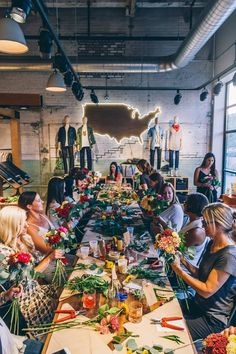 Floral workshop at Willys Detroit -- all local grown flowers in Michigan.