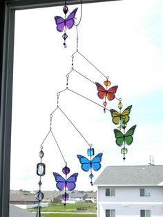 Delicate Rainbow Butterfly Mobile Suncatcher / Baby Mobile