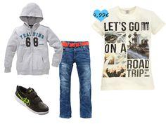 T-Shirt aus 100 % Baumwolle. Passend zu dem Shirt (€ 4,99) eine Jeans (€ 12,99), eine Sweatjacke (€ 6,99) und Nike Sneaker (€ 19,99)