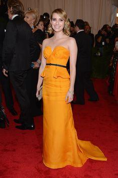 (Emma Roberts in Escada at Met Gala 2012)
