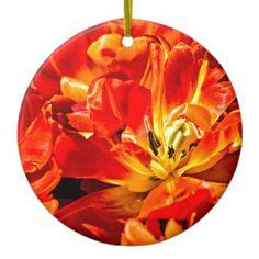 Red Tulips Macro Ceramic Ornament