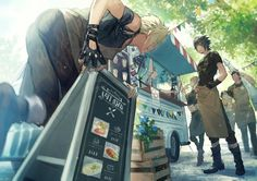 FF XV chocobros opens restaurant kawaii Final Fantasy Xv, Fantasy Series, Iris Amicitia, Prompto Argentum, Noctis Lucis Caelum, Cg Artwork, Fictional World, Cute Anime Pics, Fan Art