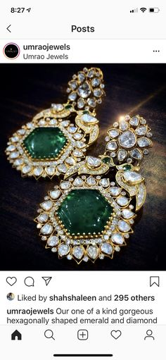 Jewelry Design Earrings, Designer Earrings, Indian Jewellery Design, Indian Jewelry, Moissanite, Bridal Jewelry, Jewelry Collection, Emerald, Shapes