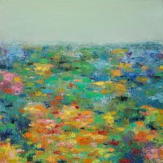 "Yang Yang Pan ""Abstract Landscape Blooming Hill2 original Oil Painting"""