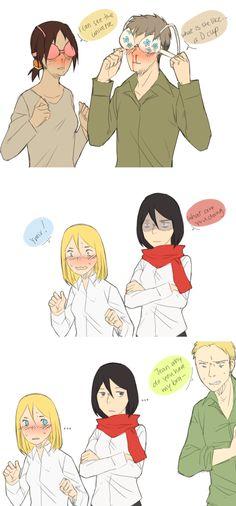 horsing around- Ymir, Jean, Historia, Mikasa , and Reiner