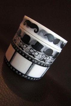 Black and White MR Moustache Wahsi Tape Set by MikosCraftyStuffs