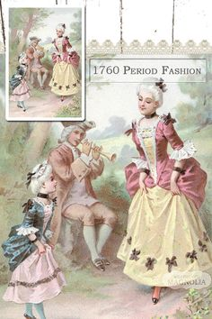 1760 Period Fashion - Colonial Dress - Instant Digital Download - Printable Vintage Image - Garden Mother Child Illustration - Shabby Chic