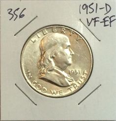 1951-D FRANKLIN HALF DOLLAR VF-EF 90% SILVER COIN FOR YOUR COLLECTION! #356