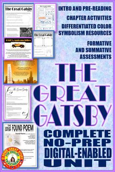 Comprehension and analysis questions for reading,discussion, and study guides, formative and summative assessments, presentations, creative activities, and collaborative projects, everything you need to teach an engaging unit for Fitzgerald's The Great Gatsby.  Digital-enabled for Google Classroom or pdfs for in-class student handouts.  Engaging and fun, suitable for students in any level grades 9,10,11,12.  #americanliterature #novelunits #highschoolenglishclass #secondaryela… Creative Activities, Learning Activities, Classroom Resources, Teaching Resources, Found Poem, Formative And Summative Assessment, Education And Literacy, Study Guides, English Activities