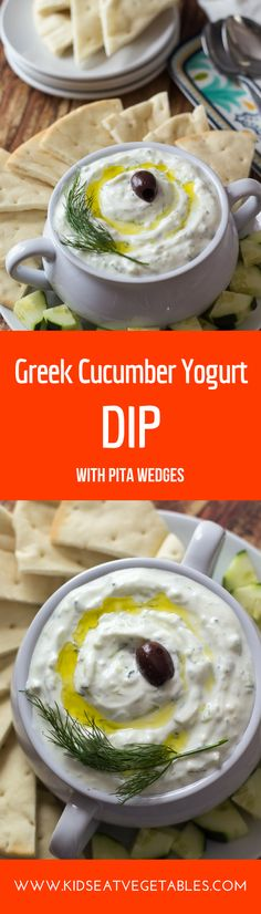 This DIY Greek style dip is tangy, cool and refreshing. With a light lemon garlic flavor, it goes perfectly with grilled veggies and meat. So make a double batch if you are expecting company. And if you have leftovers, this healthy dip tastes great in wra Healthy Dips, Healthy Side Dishes, Healthy Meals For Kids, Healthy Appetizers, Side Dishes Easy, Appetizer Recipes, Snack Recipes, Salad Recipes, Healthy Food