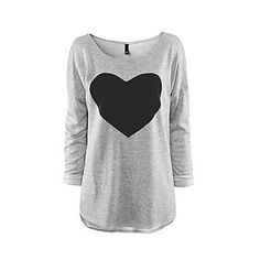 Womens Printed Black on Grey Love Heart Tee