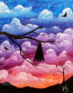 In this video, I'll be showing you how to paint a cloudy, dusk sky, and a couple of different bats. This is a good lesson for beginners and up and such a fun...