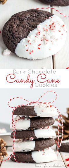 Dark Chocolate Candy Cane Cookies! The classic combination of chocolate and peppermint make these Dark Chocolate Candy Cane Cookies the perfect treat for the holidays!   livforcake.com
