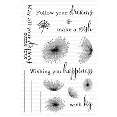 Ellen Hutson, LLC features Clearly Besotted Clear Stamps, Dandelion Dreams.