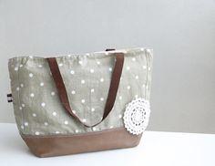 CAMEL Brown leather tote bag  Ash grey linen tote  by dawnaparis, €55.00