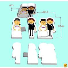 Memoria USB Novios juntos y separados 1GB, Detalles de boda Originales y Baratos