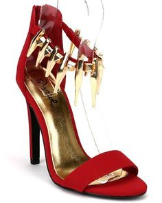 Qupid Interest14X New Nubuck Metallic Embellished Ankle Strap Stiletto Heel  Dark Red Size 65 ** Find out more about the great product at the image link.