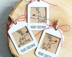 The Card Grotto - Clearly Besotted Let's Prance clear Christmas tags