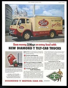 1954-Pearl-Lager-beer-delivery-truck-photo-Diamond-T-Tilt-Cab-422C-print-ad