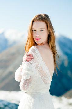 winter wedding inspiration on paper & lace / love that dress! Image by Johanna Macdonald / Dress by Elizabeth Wenborn