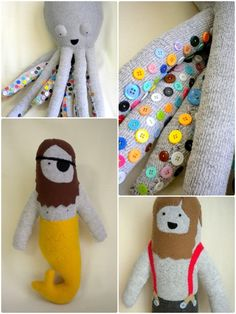 love the merman!  bookspaperscissors:    Huge Plush Octopus with Rainbow Buttons, Plush and Sock Merman with Eye Patchand Friendly Lumberjack Sock and Plush Dollfrom finkelsteins    OMG OMG OMG - those little button tentacles!!!! THE BEST.