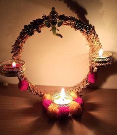 Diwali Candle Holders, Diwali Candles, Diya Designs, Rangoli Designs Flower, Creative Things, Creative Crafts, Diwali Craft, T Lights, Hanging Flowers