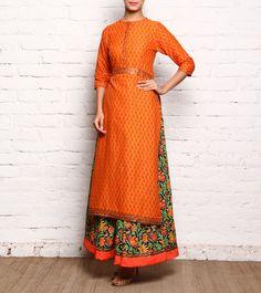 Orange Cotton Long Kurta With Printed Lehenga Skirt