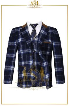 Leave it to Sirri for your boys' wool suits. Another stunning piece, this wool blend features a blue checked suit that has a light grey and navy blue windowpane check. Shop now at SIRRI kids #suits for boys for #wedding #communion online...Elegant fashion for children and men. #fashion #shopping
